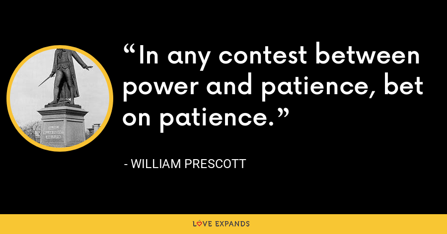 In any contest between power and patience, bet on patience. - William Prescott
