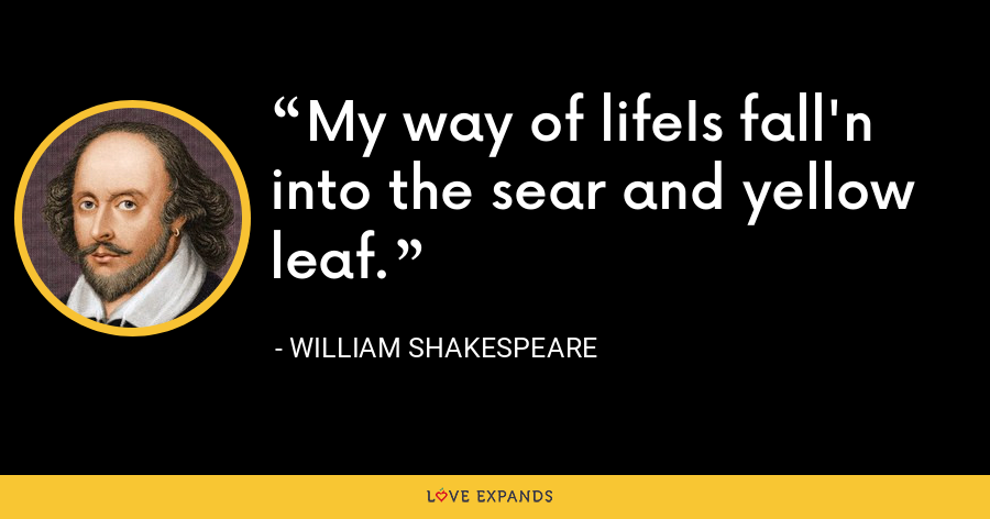 My way of lifeIs fall'n into the sear and yellow leaf. - William Shakespeare