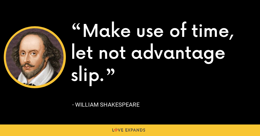 Make use of time, let not advantage slip. - William Shakespeare
