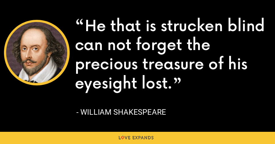 He that is strucken blind can not forget the precious treasure of his eyesight lost. - William Shakespeare