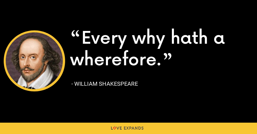 Every why hath a wherefore. - William Shakespeare