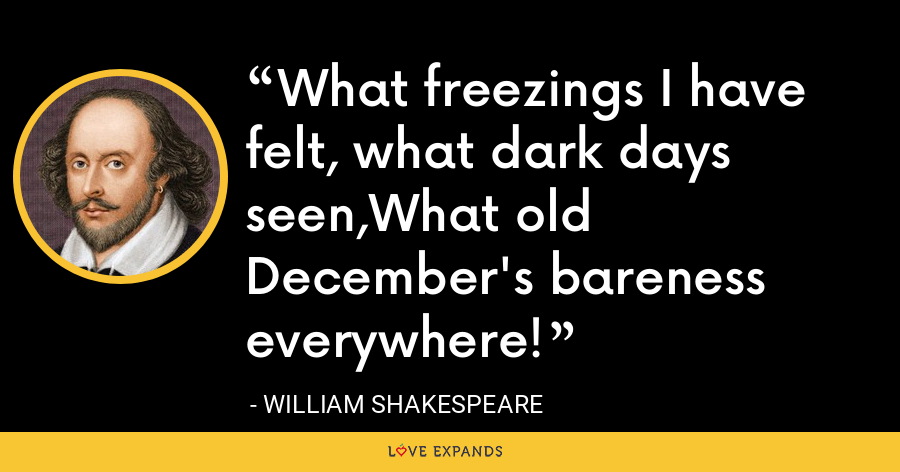 What freezings I have felt, what dark days seen,What old December's bareness everywhere! - William Shakespeare