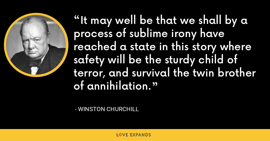 It may well be that we shall by a process of sublime irony have reached a state in this story where safety will be the sturdy child of terror, and survival the twin brother of annihilation. - Winston Churchill