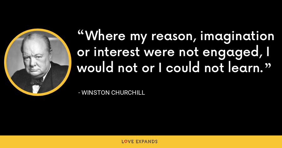 Where my reason, imagination or interest were not engaged, I would not or I could not learn. - Winston Churchill