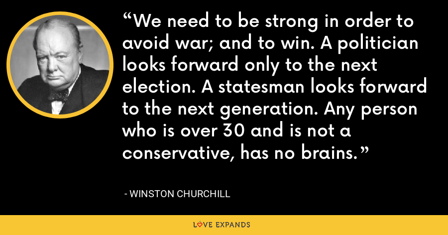 We need to be strong in order to avoid war; and to win. A politician looks forward only to the next election. A statesman looks forward to the next generation. Any person who is over 30 and is not a conservative, has no brains. - Winston Churchill