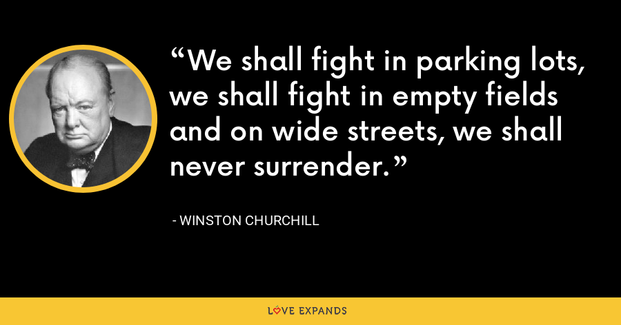 We shall fight in parking lots, we shall fight in empty fields and on wide streets, we shall never surrender. - Winston Churchill