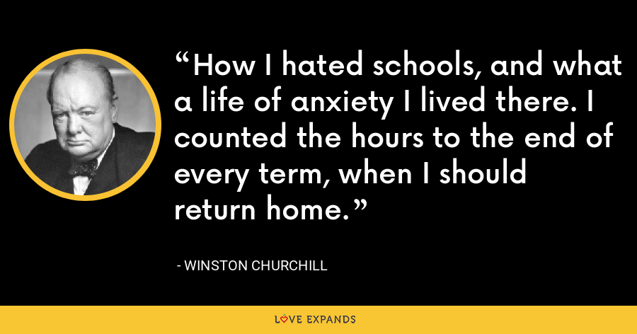 How I hated schools, and what a life of anxiety I lived there. I counted the hours to the end of every term, when I should return home. - Winston Churchill