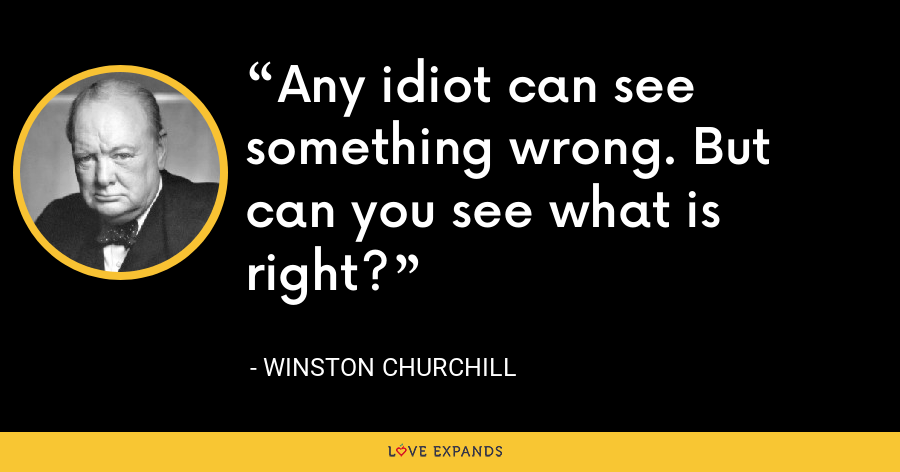 Any idiot can see something wrong. But can you see what is right? - Winston Churchill
