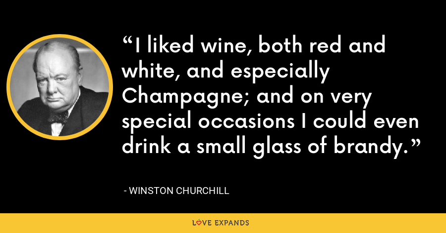 I liked wine, both red and white, and especially Champagne; and on very special occasions I could even drink a small glass of brandy. - Winston Churchill