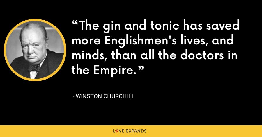 The gin and tonic has saved more Englishmen's lives, and minds, than all the doctors in the Empire. - Winston Churchill