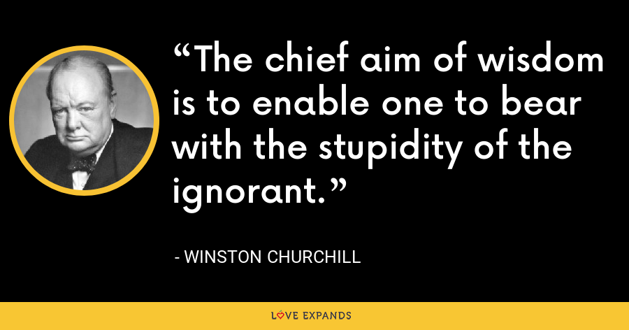 The chief aim of wisdom is to enable one to bear with the stupidity of the ignorant. - Winston Churchill