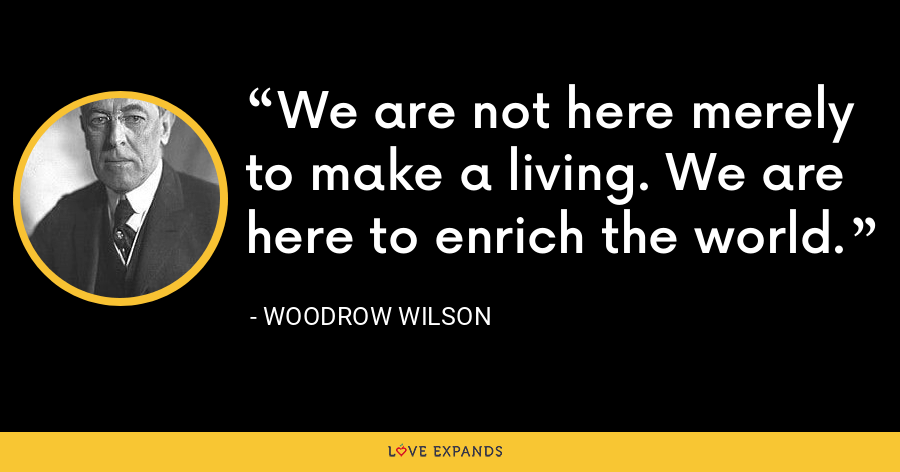 We are not here merely to make a living. We are here to enrich the world. - Woodrow Wilson
