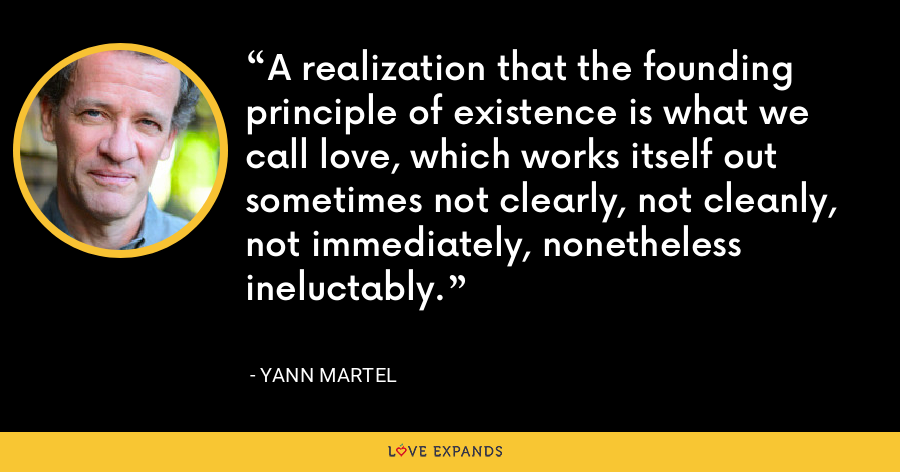 A realization that the founding principle of existence is what we call love, which works itself out sometimes not clearly, not cleanly, not immediately, nonetheless ineluctably. - Yann Martel