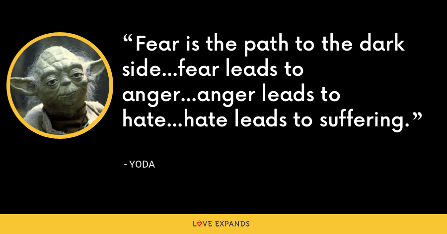 Fear is the path to the dark side…fear leads to anger…anger leads to hate…hate leads to suffering. - Yoda