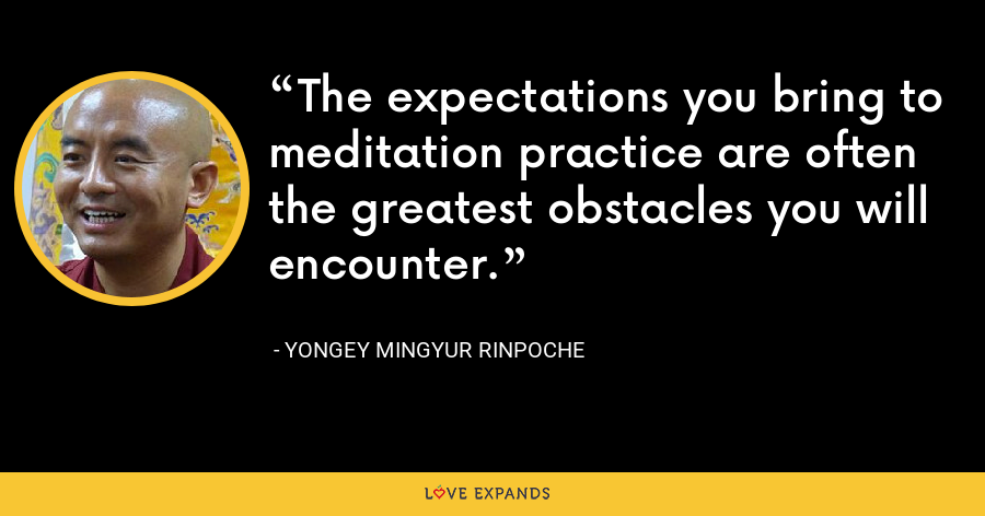 The expectations you bring to meditation practice are often the greatest obstacles you will encounter. - Yongey Mingyur Rinpoche
