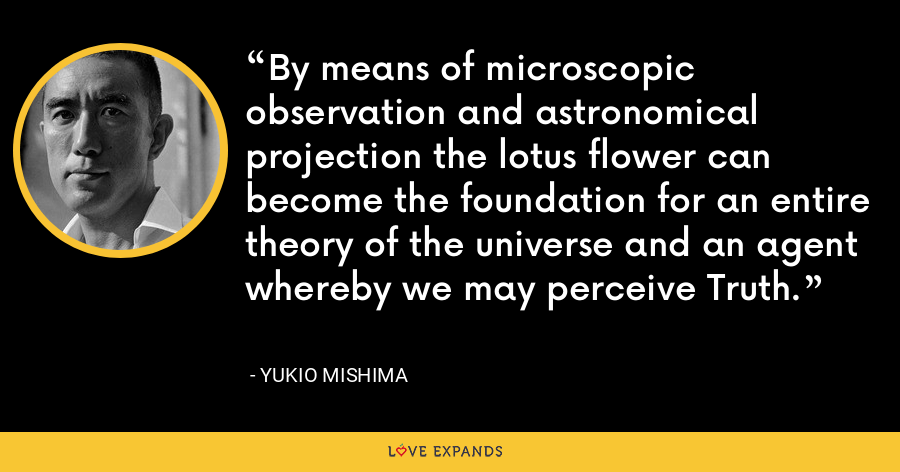 By means of microscopic observation and astronomical projection the lotus flower can become the foundation for an entire theory of the universe and an agent whereby we may perceive Truth. - Yukio Mishima