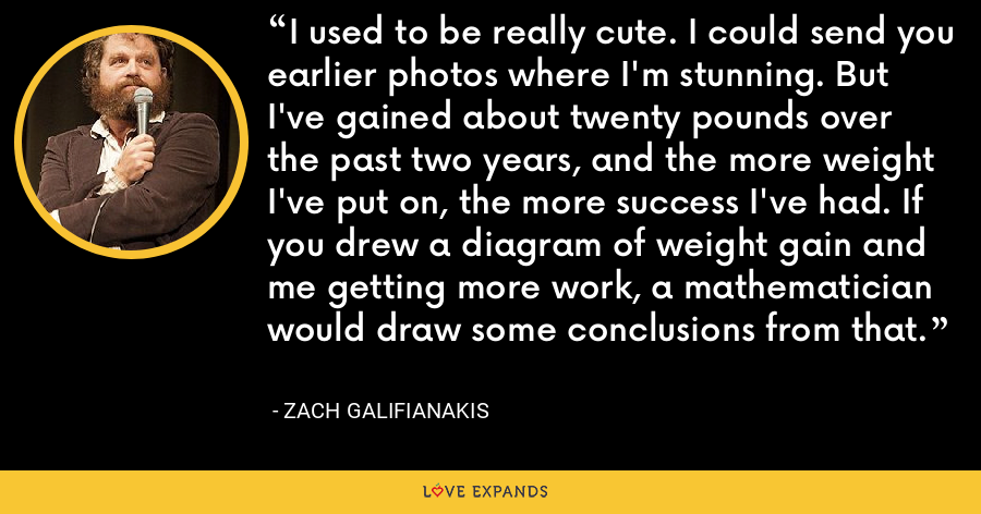 I used to be really cute. I could send you earlier photos where I'm stunning. But I've gained about twenty pounds over the past two years, and the more weight I've put on, the more success I've had. If you drew a diagram of weight gain and me getting more work, a mathematician would draw some conclusions from that. - Zach Galifianakis