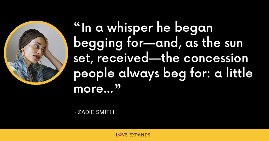 In a whisper he began begging for—and, as the sun set, received—the concession people always beg for: a little more time. - Zadie Smith