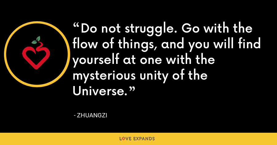 Do not struggle. Go with the flow of things, and you will find yourself at one with the mysterious unity of the Universe. - Zhuangzi
