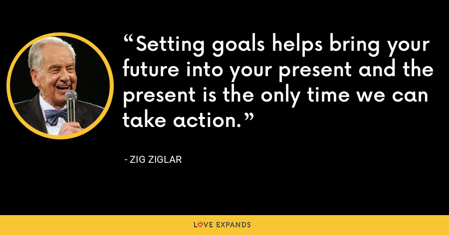 Setting goals helps bring your future into your present and the present is the only time we can take action. - Zig Ziglar