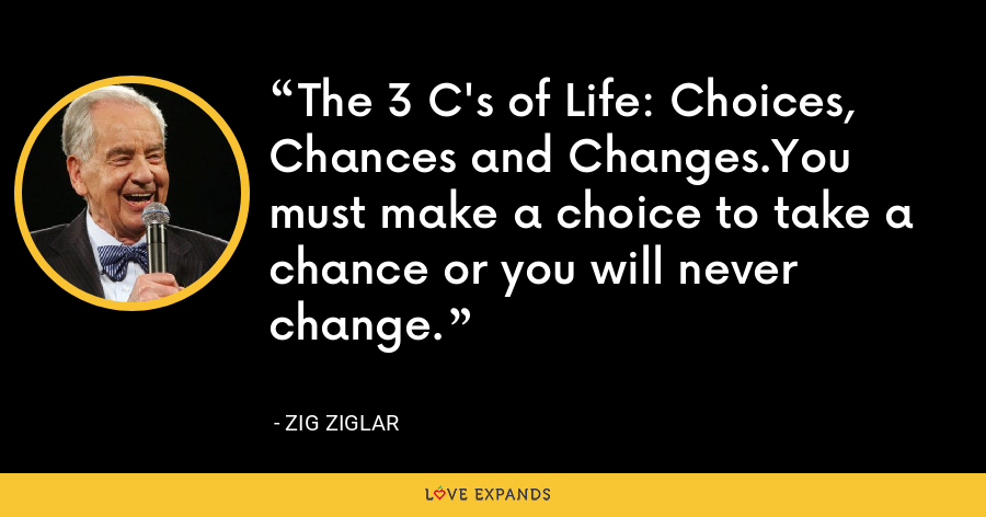 The 3 C's of Life: Choices, Chances and Changes.You must make a choice to take a chance or you will never change. - Zig Ziglar