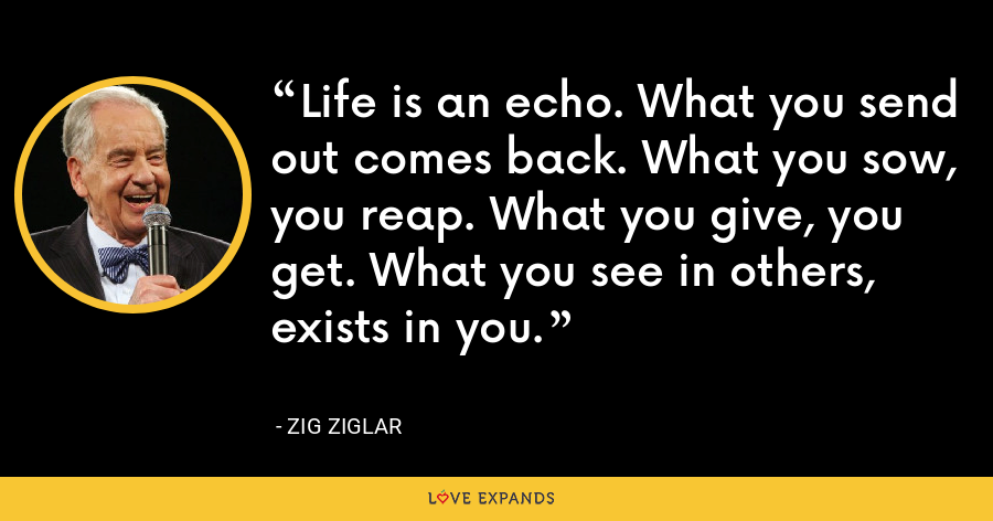 Life is an echo. What you send out comes back. What you sow, you reap. What you give, you get. What you see in others, exists in you. - Zig Ziglar
