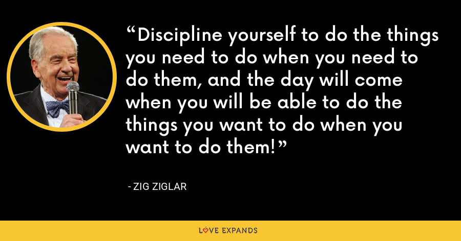Discipline yourself to do the things you need to do when you need to do them, and the day will come when you will be able to do the things you want to do when you want to do them! - Zig Ziglar