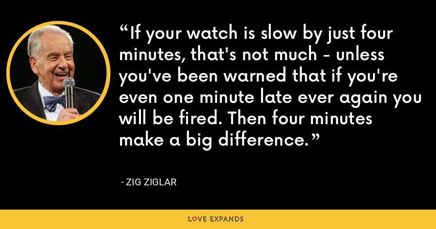If your watch is slow by just four minutes, that's not much - unless you've been warned that if you're even one minute late ever again you will be fired. Then four minutes make a big difference. - Zig Ziglar