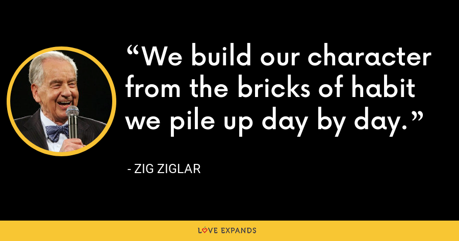 We build our character from the bricks of habit we pile up day by day. - Zig Ziglar