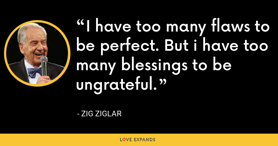 I have too many flaws to be perfect. But i have too many blessings to be ungrateful. - Zig Ziglar