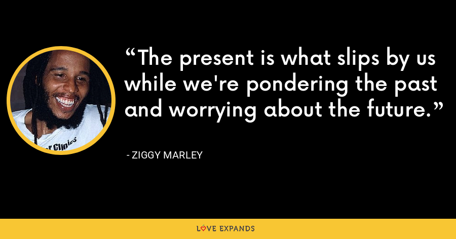 The present is what slips by us while we're pondering the past and worrying about the future. - Ziggy Marley