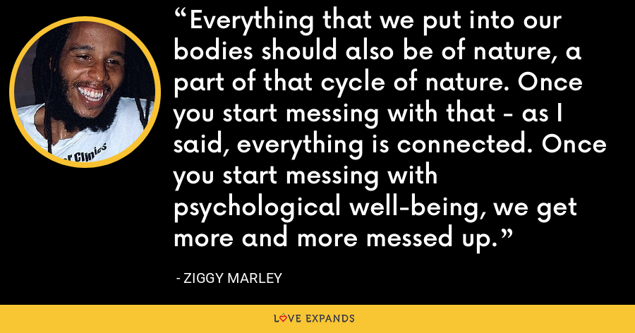 Everything that we put into our bodies should also be of nature, a part of that cycle of nature. Once you start messing with that - as I said, everything is connected. Once you start messing with psychological well-being, we get more and more messed up. - Ziggy Marley