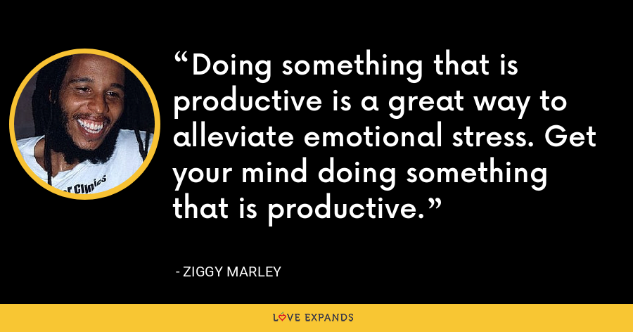 Doing something that is productive is a great way to alleviate emotional stress. Get your mind doing something that is productive. - Ziggy Marley