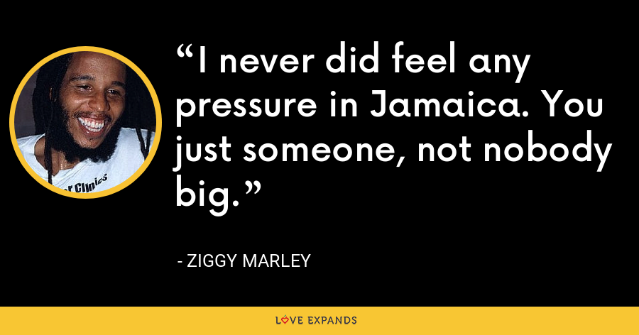 I never did feel any pressure in Jamaica. You just someone, not nobody big. - Ziggy Marley