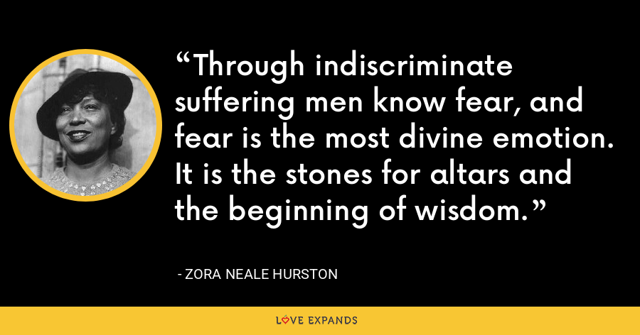Through indiscriminate suffering men know fear, and fear is the most divine emotion. It is the stones for altars and the beginning of wisdom. - Zora Neale Hurston