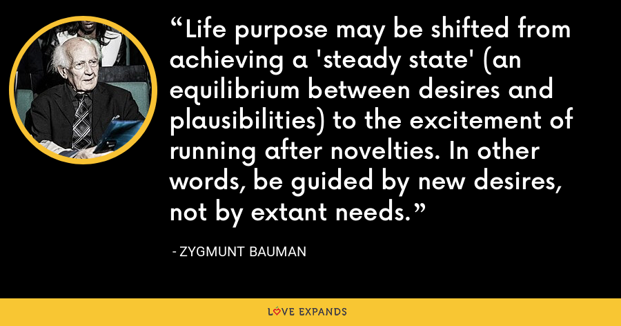 Life purpose may be shifted from achieving a 'steady state' (an equilibrium between desires and plausibilities) to the excitement of running after novelties. In other words, be guided by new desires, not by extant needs. - Zygmunt Bauman